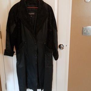 Ladies full length leather jacket.